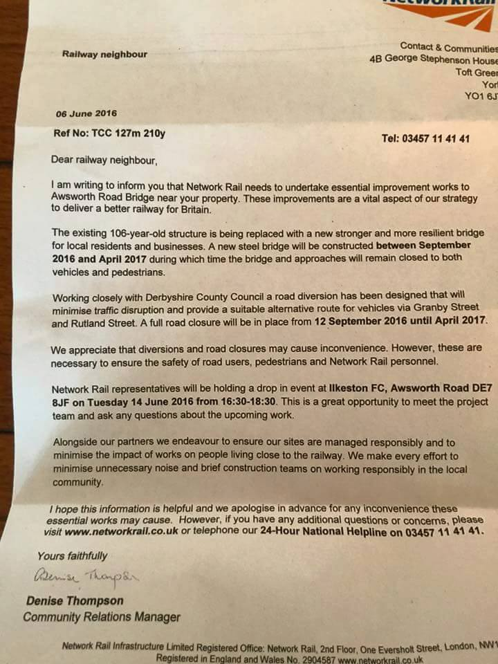 letter to ilkeston residents - awsworth bridge developments