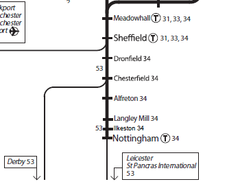 Nottingham to Leeds via Ilkeston Railway route