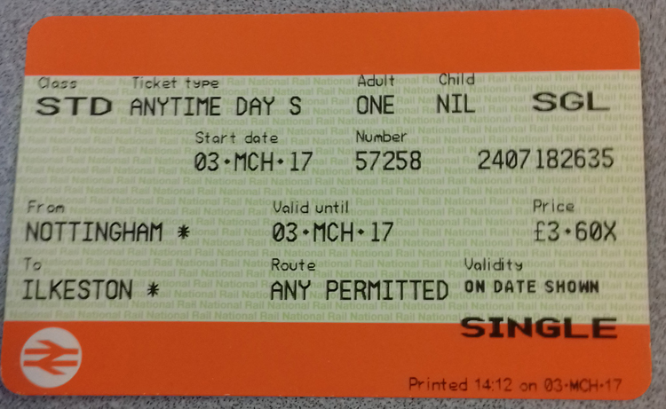 Nottingham to Ilkeston rail ticket purchased 3rd March 2017